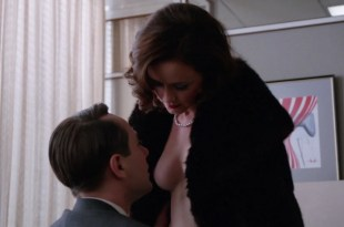 Alexis Bledel almost topless- Mad Man (2012) s5e9 HD 1080p (1)