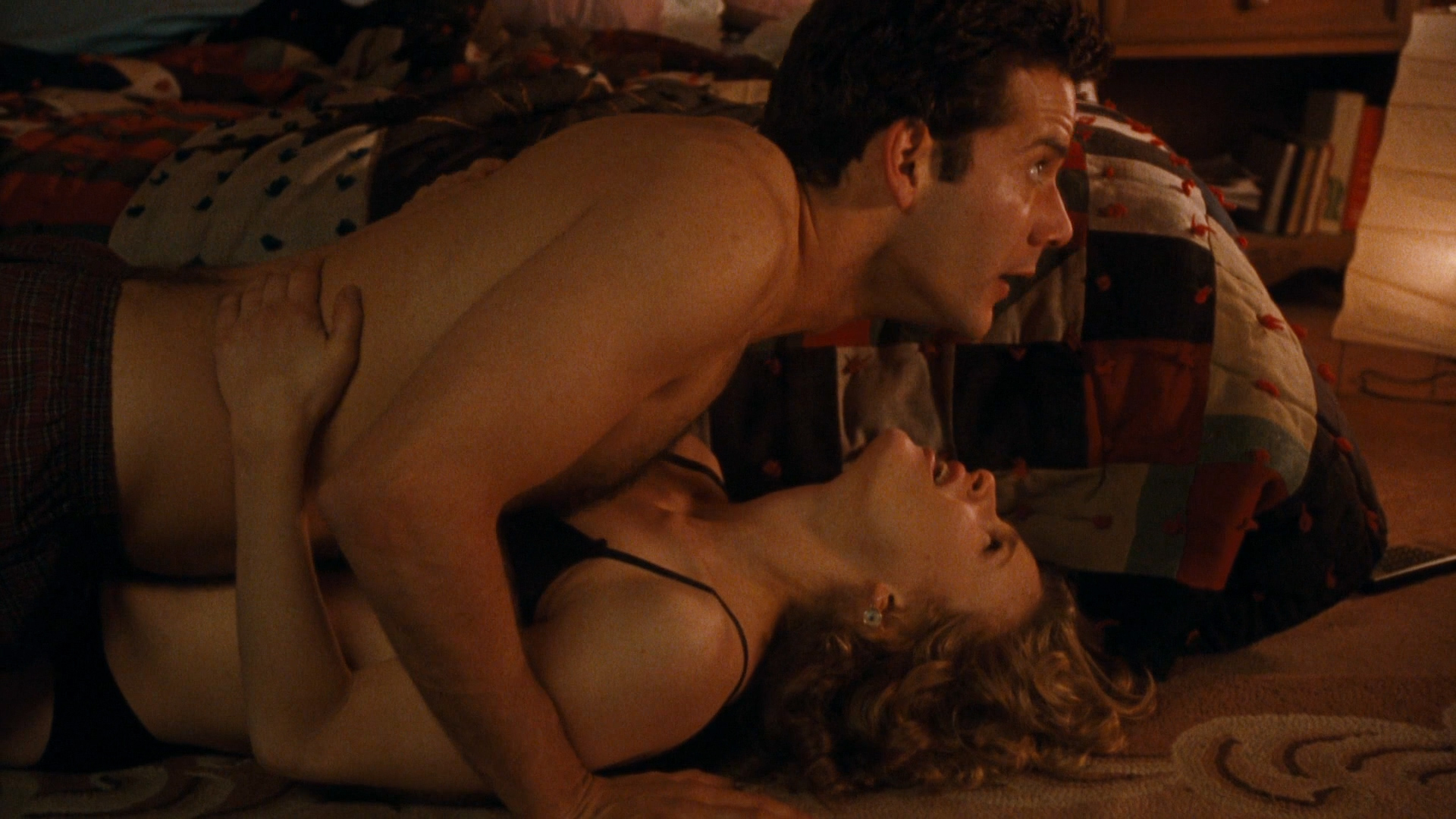 Bridget Fonda hot in bra and Kyra Sedgwick nude sex but covered - Singles  (1992