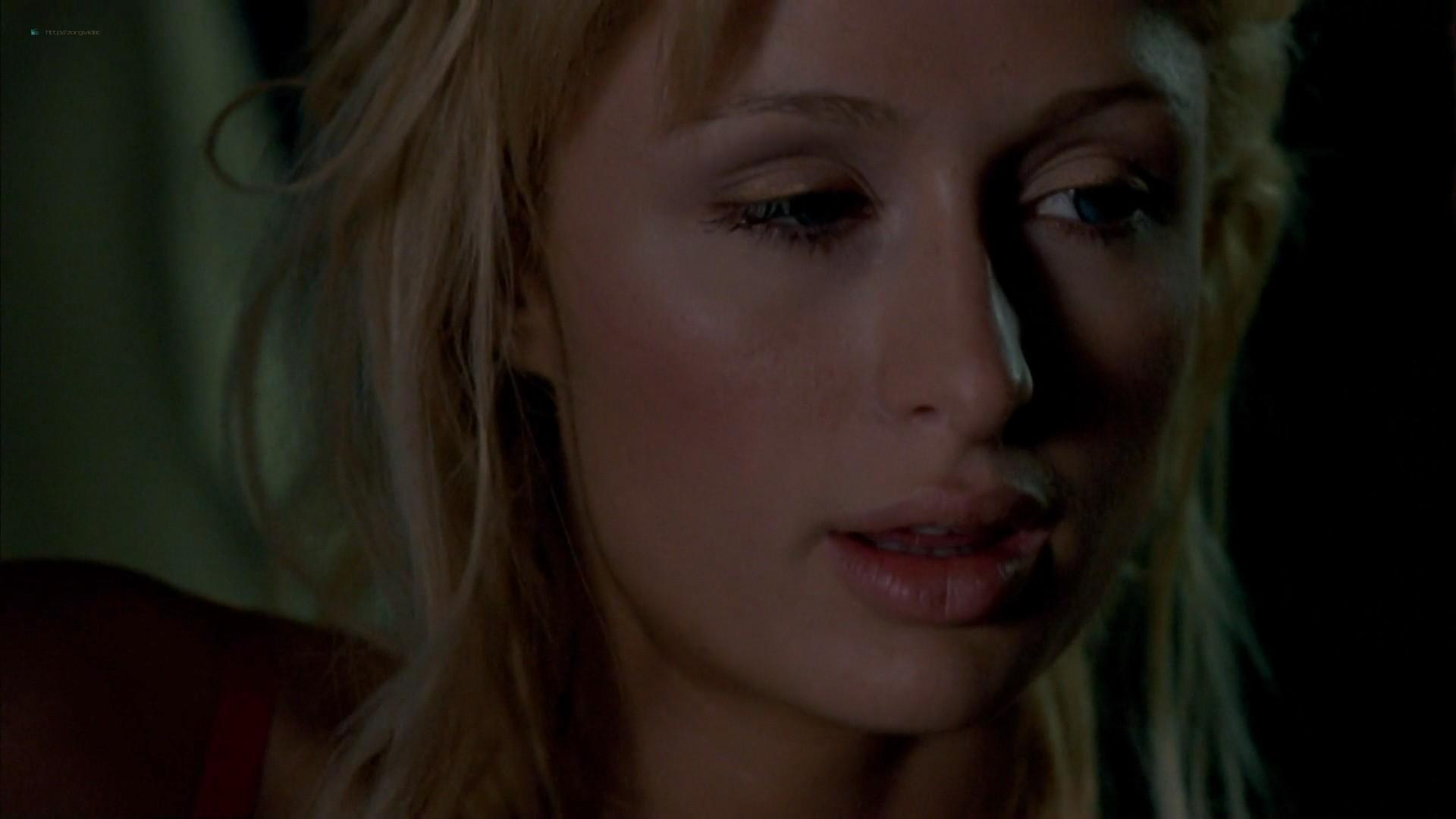 Elisha Cuthbert hot cleavage Paris Hilton striping to bra and panties - House of Wax (2005) HD 1080p (2)