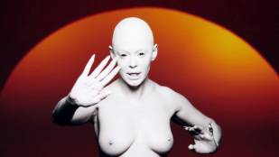 Rose McGowan nude topless in music video: RM486