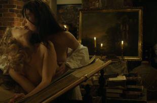 Sarah Gadon nude nipple and Malin Buska nude and lesbian sex – The Girl King (2015) HD 1080p BluRay