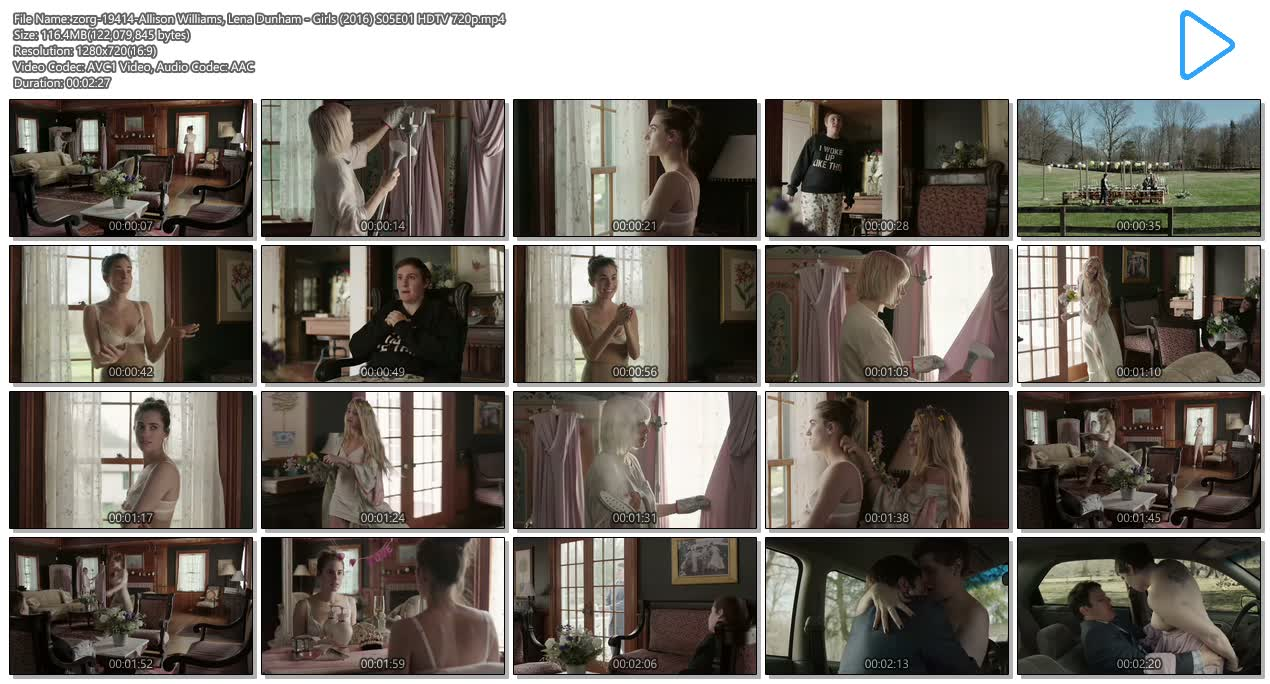 Allison Williams hot in bra and cute and Lena Dunham nude sex in the car - Girls (2016) S05E01 HDTV 720p (8)