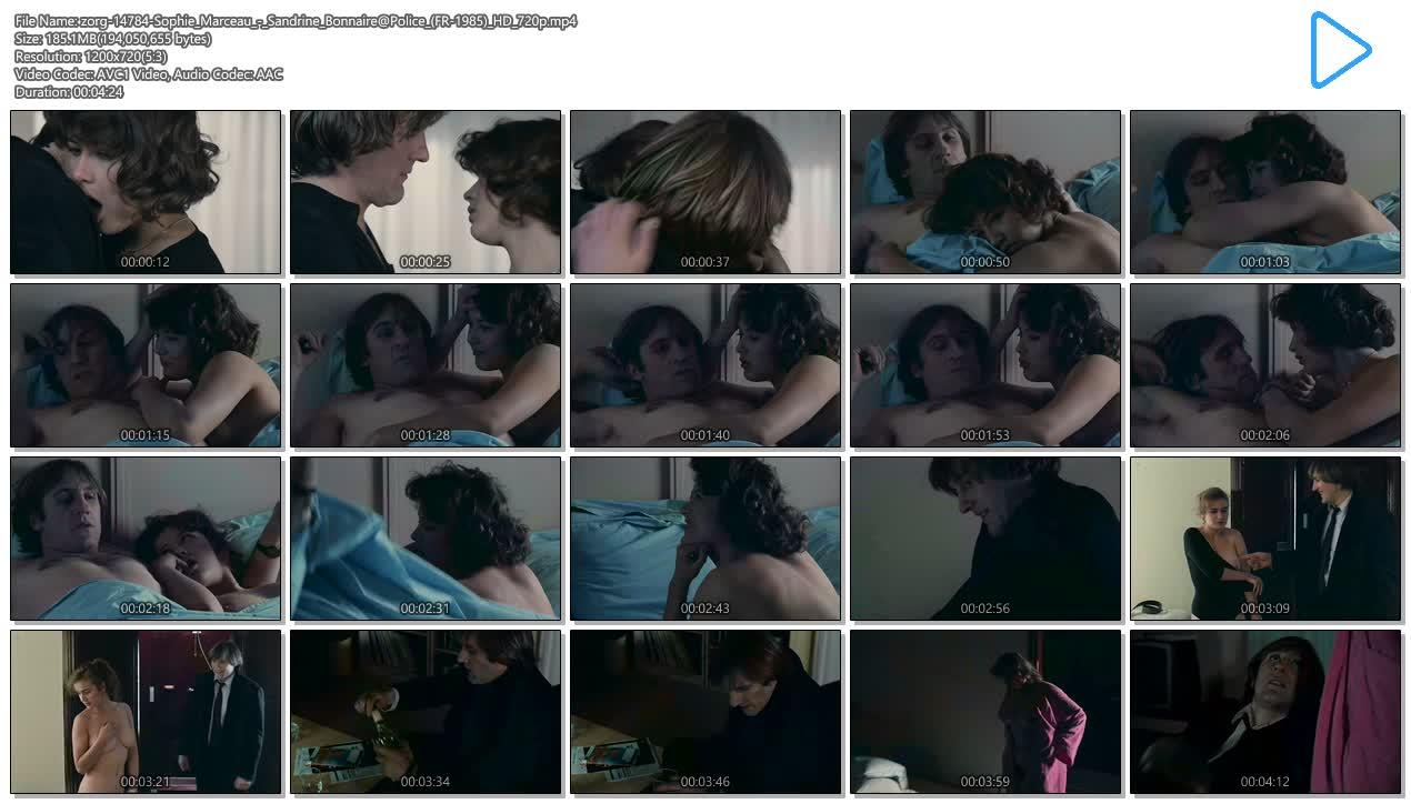 Sophie Marceau nude boobs and Sandrine Bonnaire nude bush full frontal - Police (FR-1985) HD 720p (11)