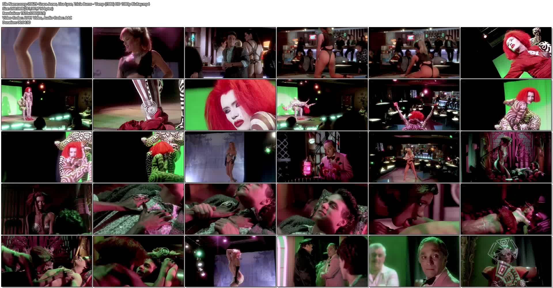 Grace Jones nude Lisa Lyon hot thong and Tricia Burns nude topless - Vamp (1986) HD 1080p BluRay (1)
