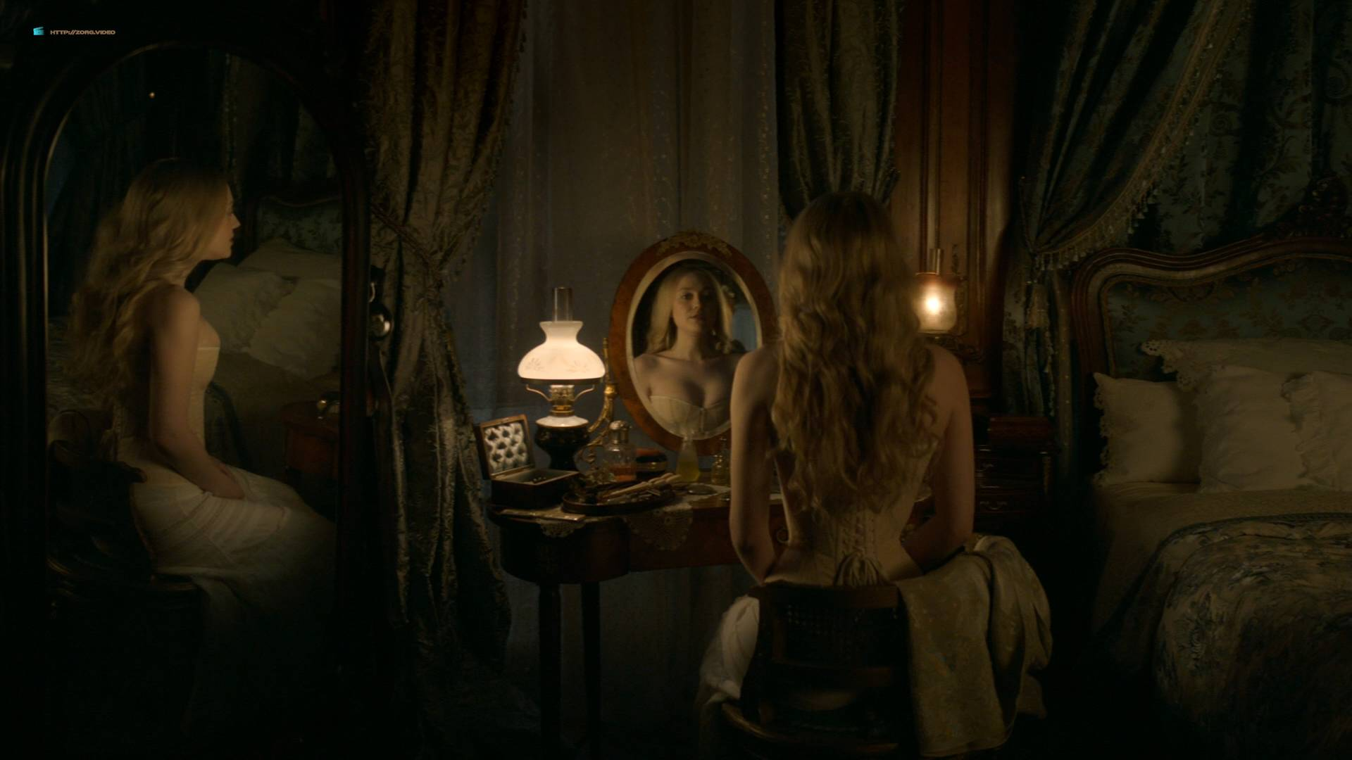Dakota Fanning hot cleavage and Daisy Bevan sex - The Alienist (2018) s1e2 HD 1080p (9)