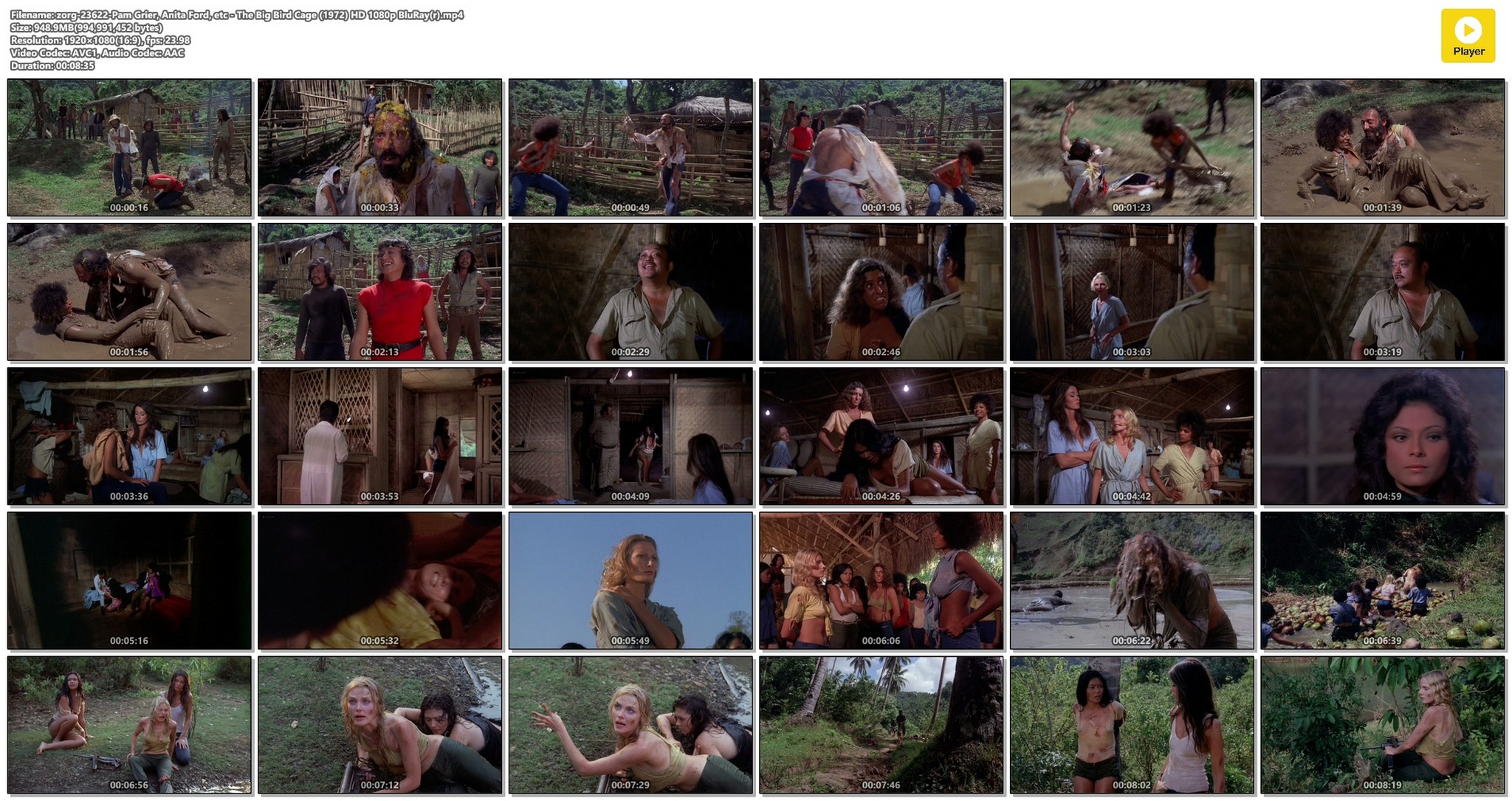 Pam Grier nude Anita Ford nude bush, others nude - The Big Bird Cage (1972) HD 1080p BluRay(r) (1)