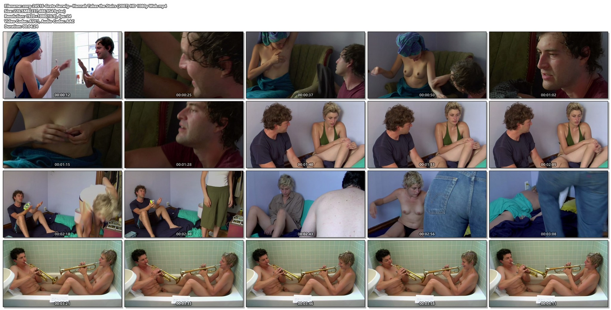 Greta Gerwig nude topless and bush Hannah Takes the Stairs 2007 HD 1080p Web 012