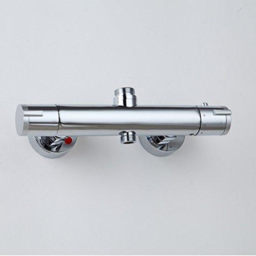 0606280550619 uusshop rond de salle de bain thermostatique robinet de douche mitigeur barre thermostatique mural corps en laiton double sortie