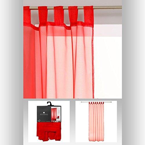 3560239433095 atmosphera lot de 2 rideaux voilage a pattes pret a poser 140 x 240cm coloris rouge