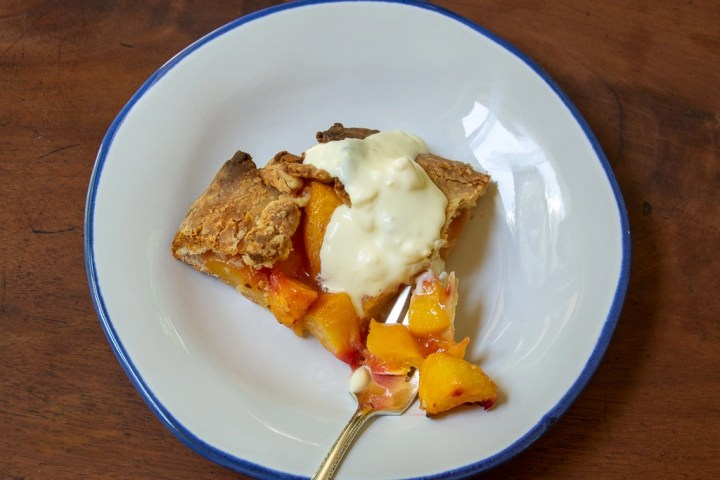 Plated peach galette