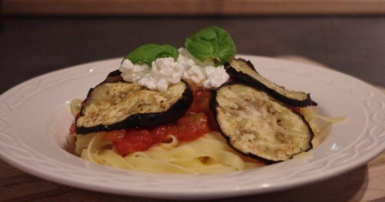 Pasta alla Norma met gegrilde aubergine