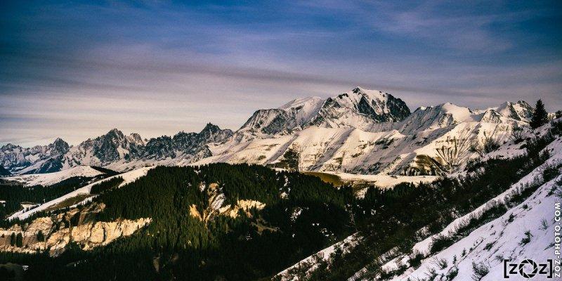 Mont-Blanc depuis le Crêt du Midi (Notre-Dame-de-Bellecombe), le 1er janvier 2016.