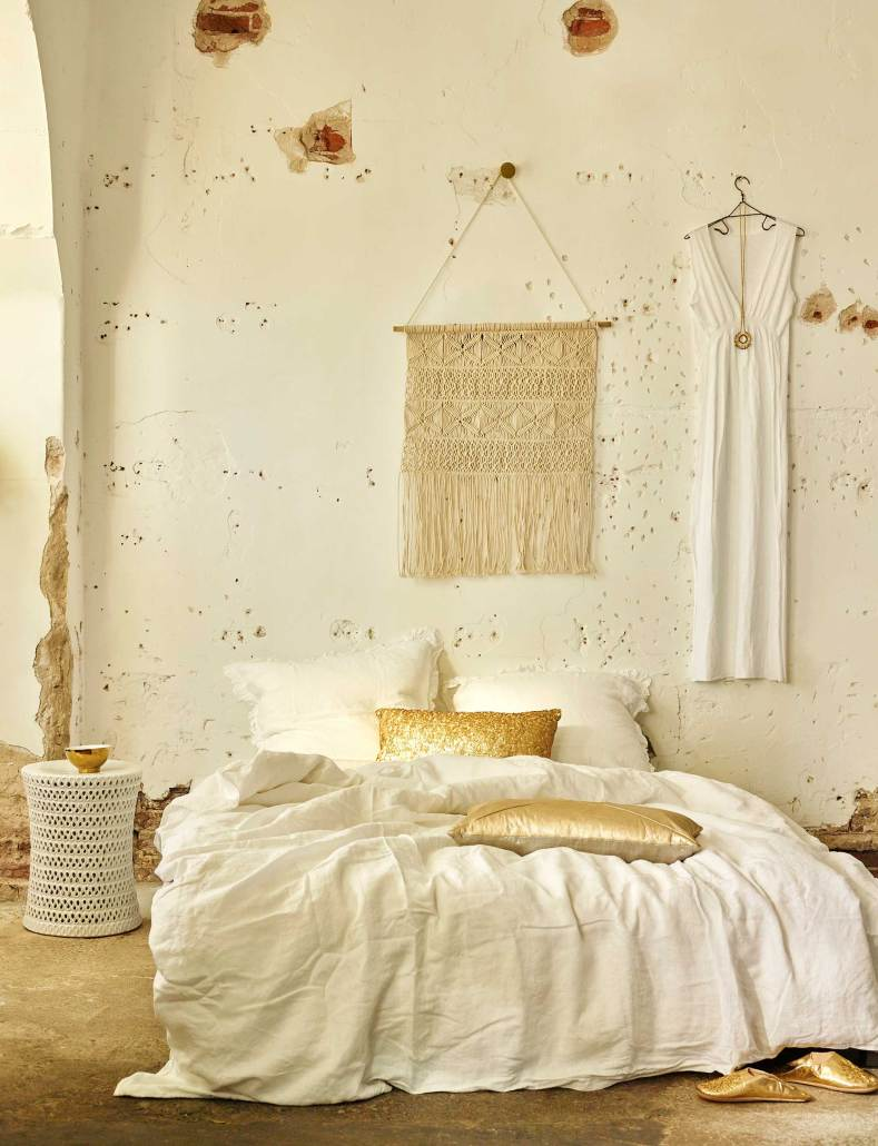 bohemien-slaapkamer-roomwit-goud