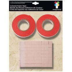 Двостороння об'ємна стрічка та квадратики, червона, 003674