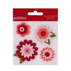 Квіти Pebbles Layered Embellishments – Pink/Red Flowers, 747062