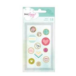 Брадси Dear Lizzy 5th & Frolic Fabric & Epoxy Brads, American Crafts, 85597