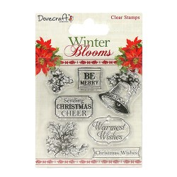 Штампи акрилові Winter Blooms – Holly and Bells, Dovecraft, DCSTP067X16