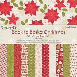Набір паперу Back to Basics Christmas Traditional, 20×20 см, Dovecraft, DCXDP26