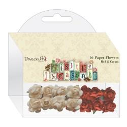 Набір паперових квітів 'Tis the Season, Red & Cream, DCXFW03