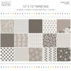 Набір паперу Floral Lace Natural, 30х30 см, Simply Creative, SCPAD057
