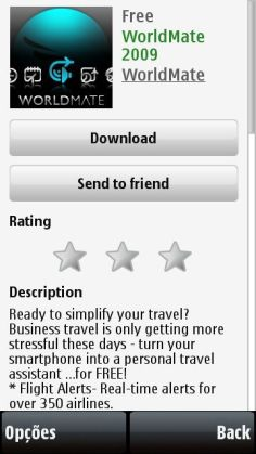Página de aplicativo na Ovi Store