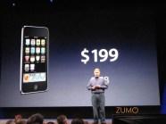A clássica imagem de preço da Apple no telão