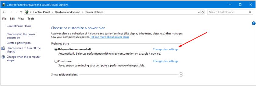 Change Power Plan Settings