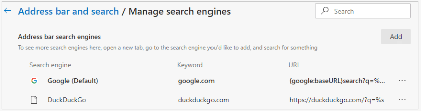 Default search engine in Edge