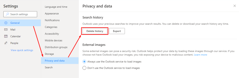 Delete or export search history