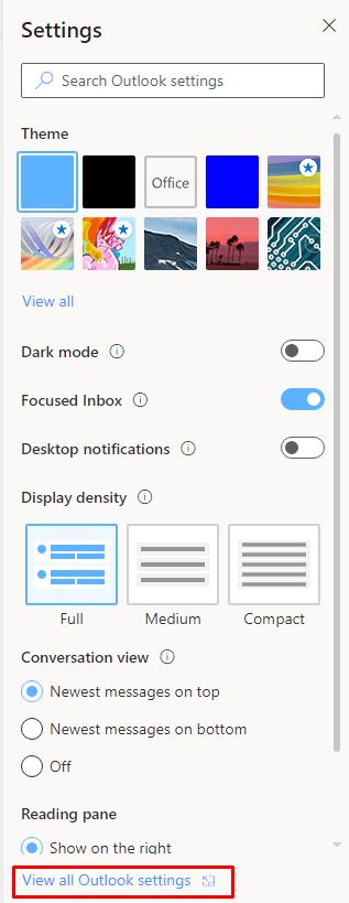 Outlook on the Web Settings
