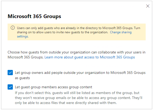 Configure Microsoft 365 Groups for guest access