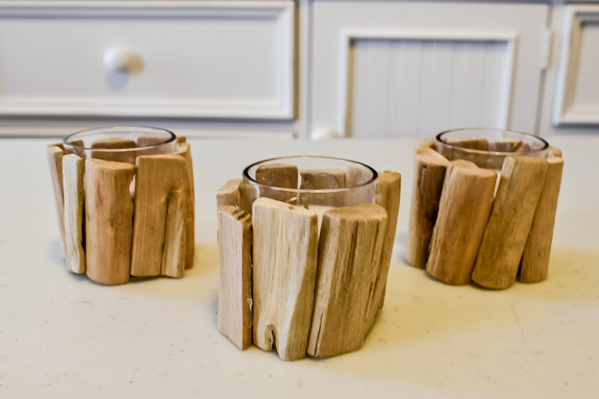 diy woodland candles before stain has been applied