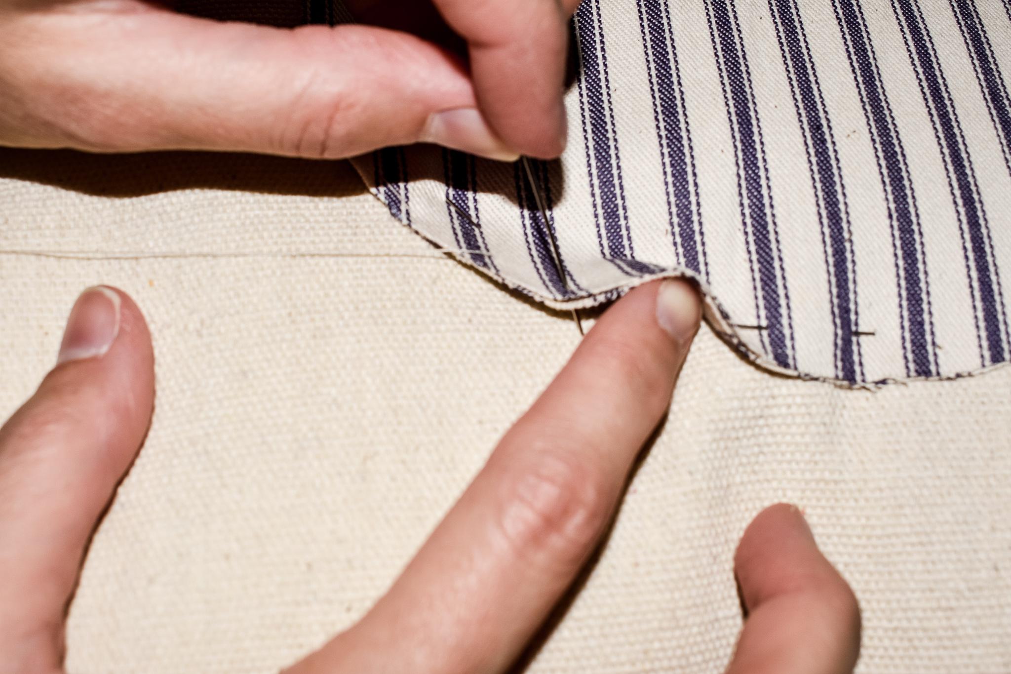 sewing a running stitch