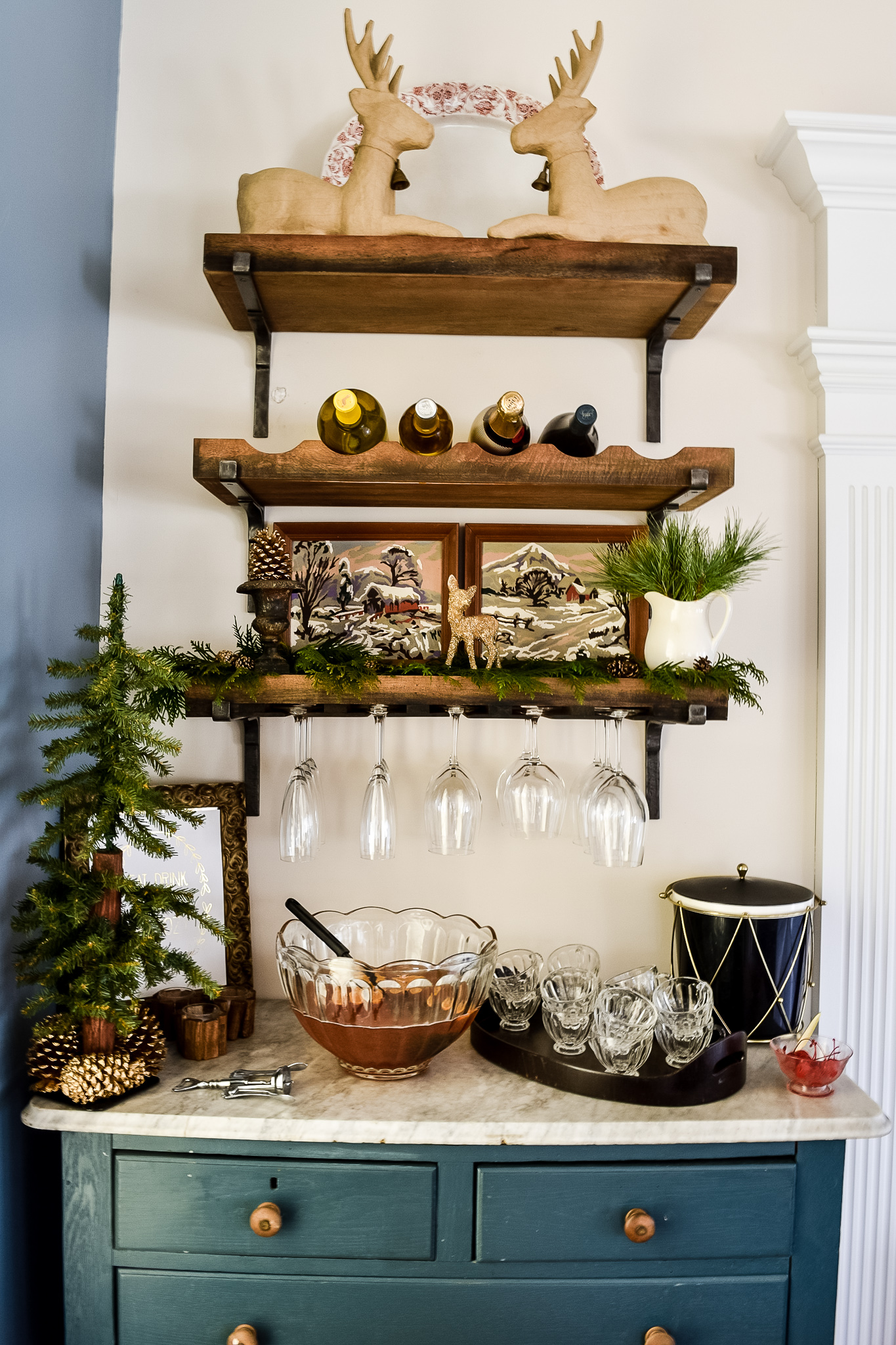 decorated self service holiday drink station with punch bowl