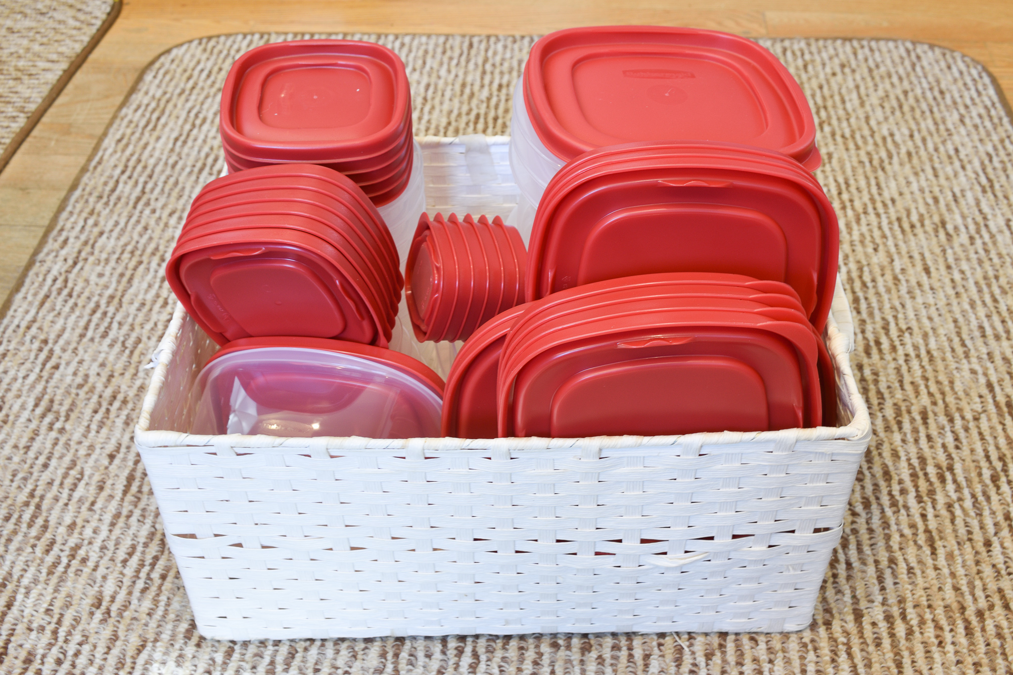 food storage containers organized in a box
