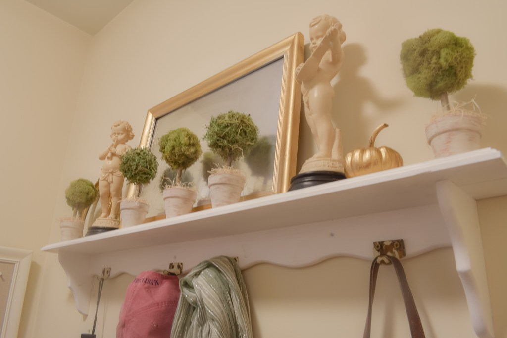 diy moss topiary trees displayed on a shelf in a mudroom