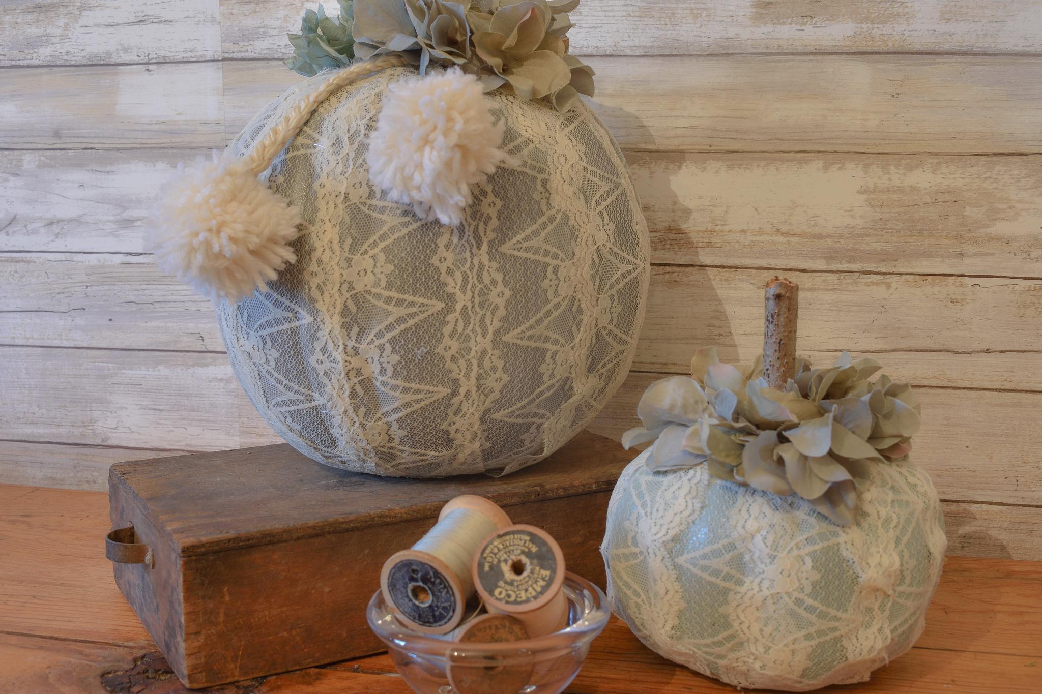 DIY Lace Pumpkins | zucchinisisters.com - DIY Lace Pumpkins made with Dollar Tree carvable pumpkins, chalk mineral paint, lace, Mod Podge, hot glue and silk florals. #zucchinisisters #dollartreedecor #lacepumpkins #falldecor