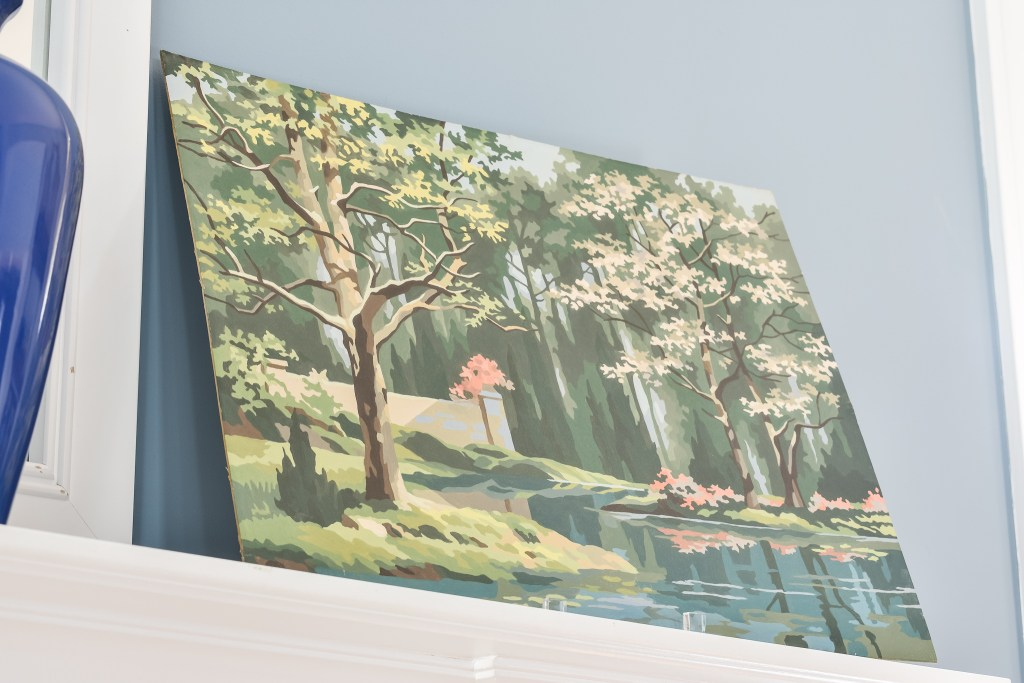 vintage paint by numbers oil painting of a Spring landscape