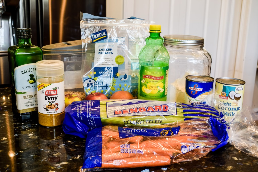 ingredients to make a mulligatawny soup recipe with chicken