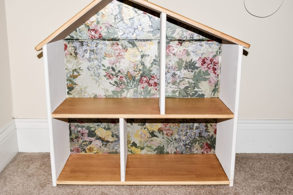 painted, stained and wall papered IKEA dollhouse