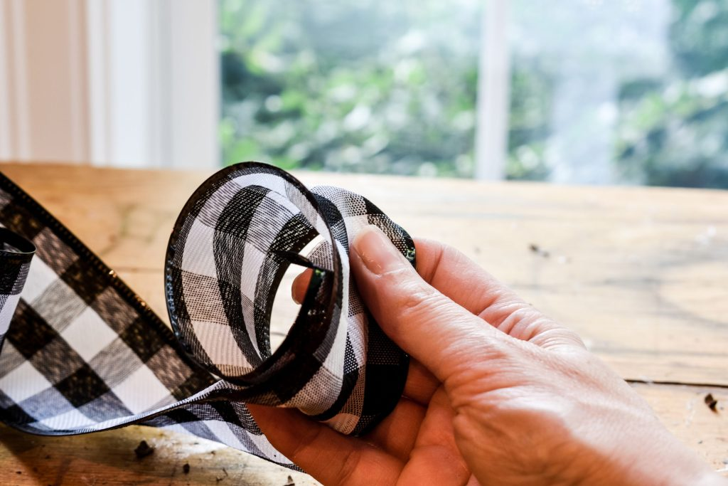step one - how to make an easy bow for a wreath