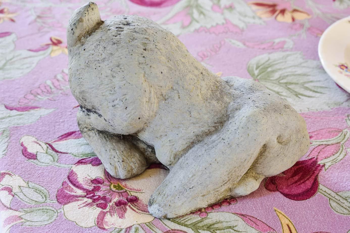 concrete bunny statue
