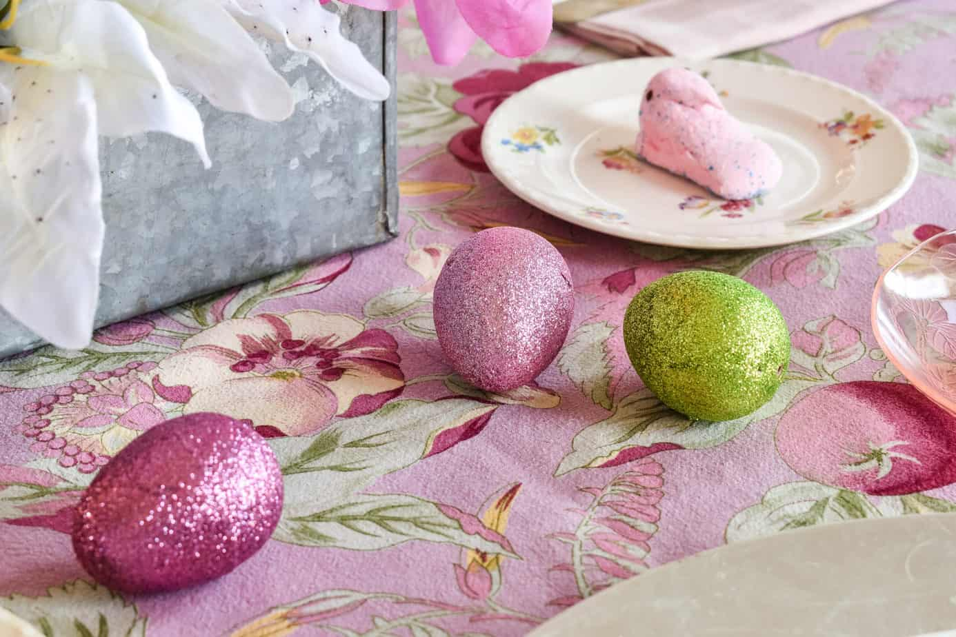 pink and green glitter eggs from Dollar Tree