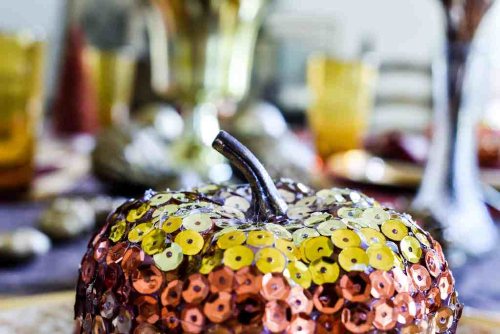 close up of a diy sequin glam pumpkin