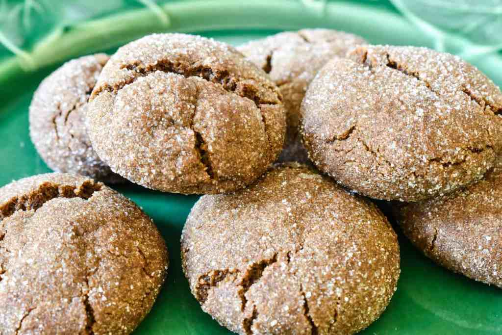 green plate filled with old fashioned ginger snap cookies