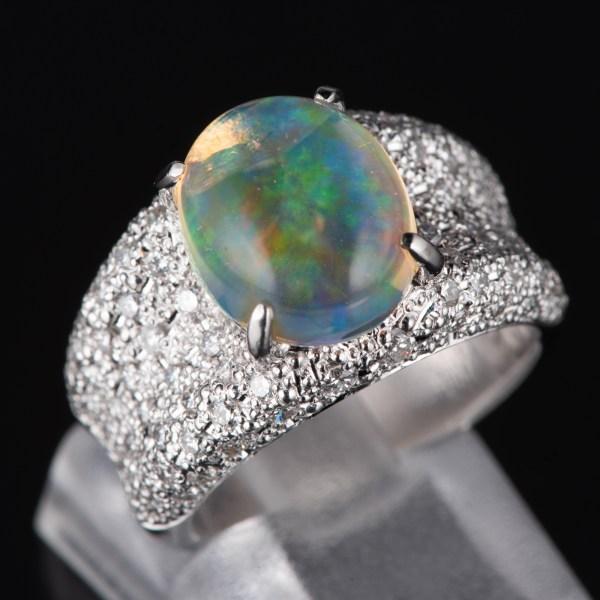 パヴェ メキシコオパールxダイヤモンド プラチナリング MO: 3.12 ct D: 0.93ct Pt900