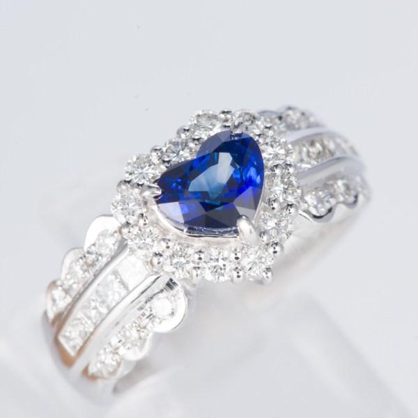 サファイアxダイヤモンド プラチナリング S: 1.07 ct D: 0.73ct Pt900