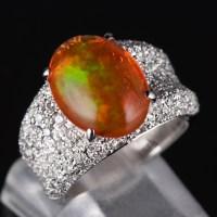 パヴェ メキシコオパールxダイヤモンド プラチナリング MO: 3.93 ct D: 0.93ct Pt900