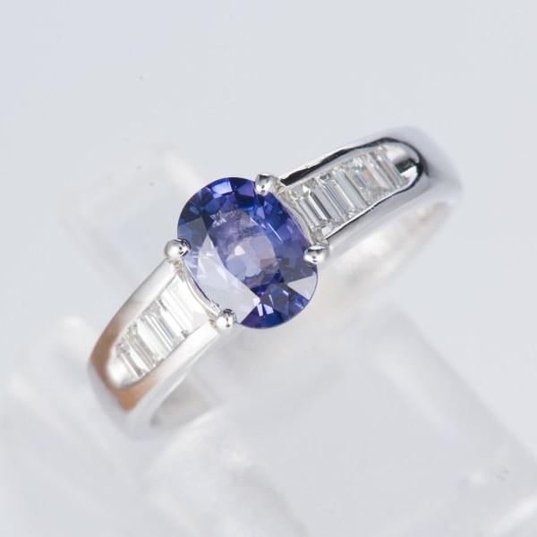 サファイアxダイヤモンド プラチナリング S: 1.08 ct D: 0.3ct Pt900