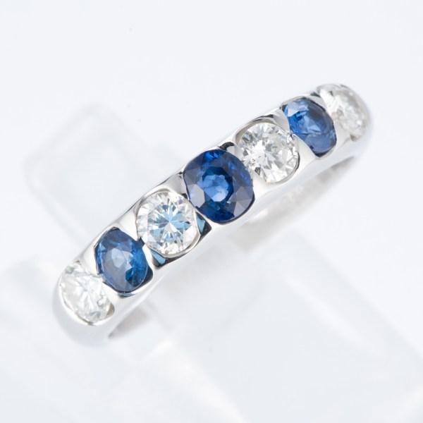 ライン サファイアxダイヤモンド プラチナリング S: 0.63 ct D: 0.73ct Pt900